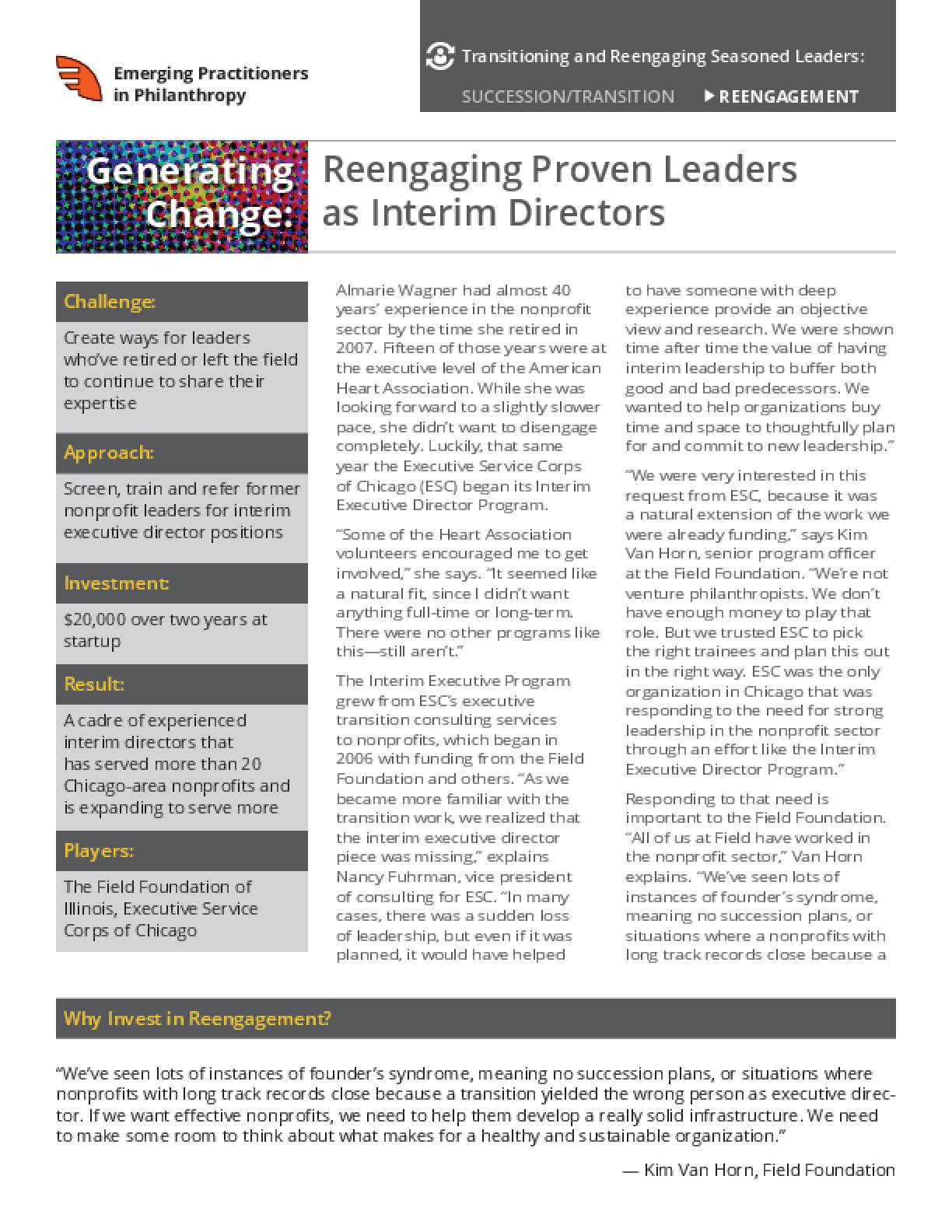 Generating Change: Reengaging Proven Leaders as Interim Directors