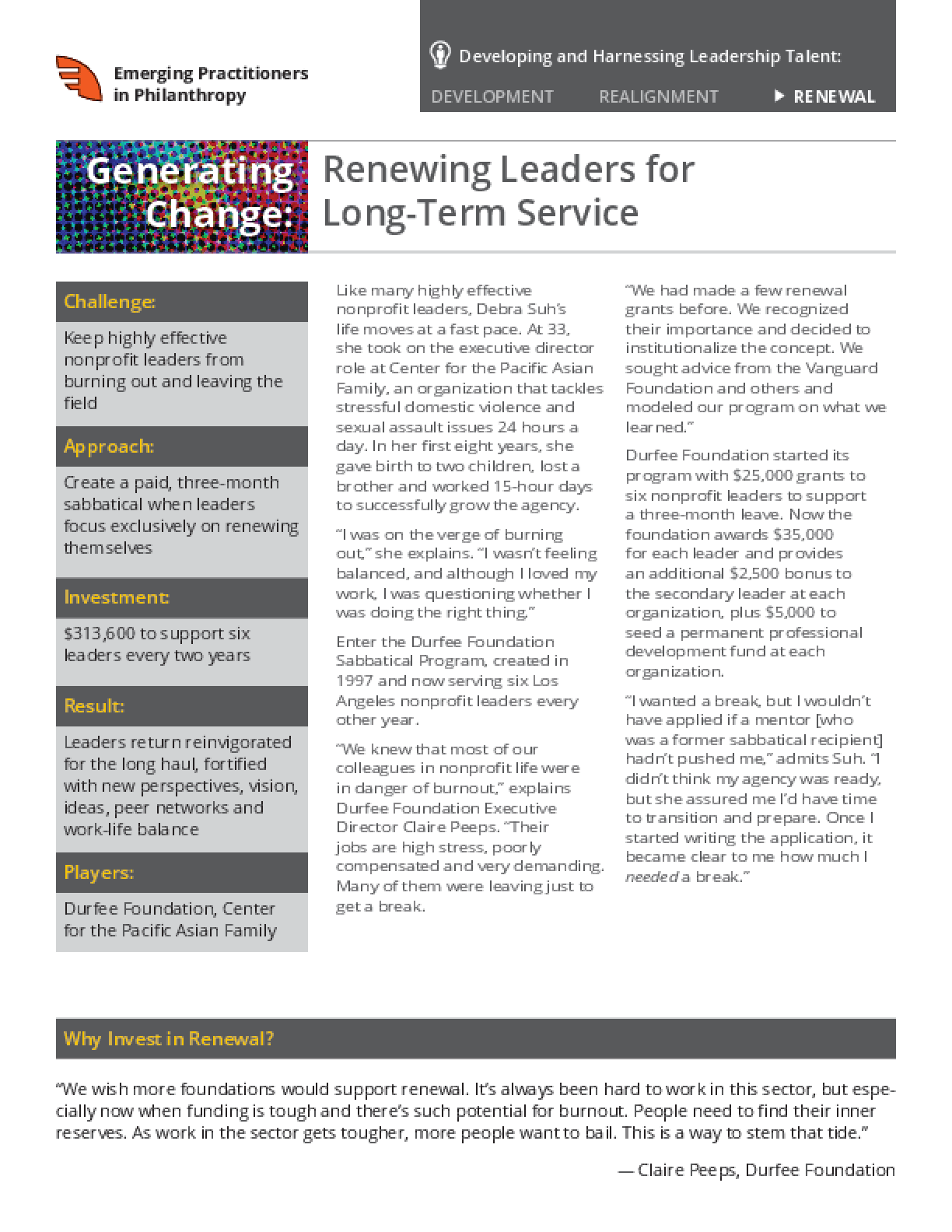 Generating Change: Renewing Leaders for Long-Term Service
