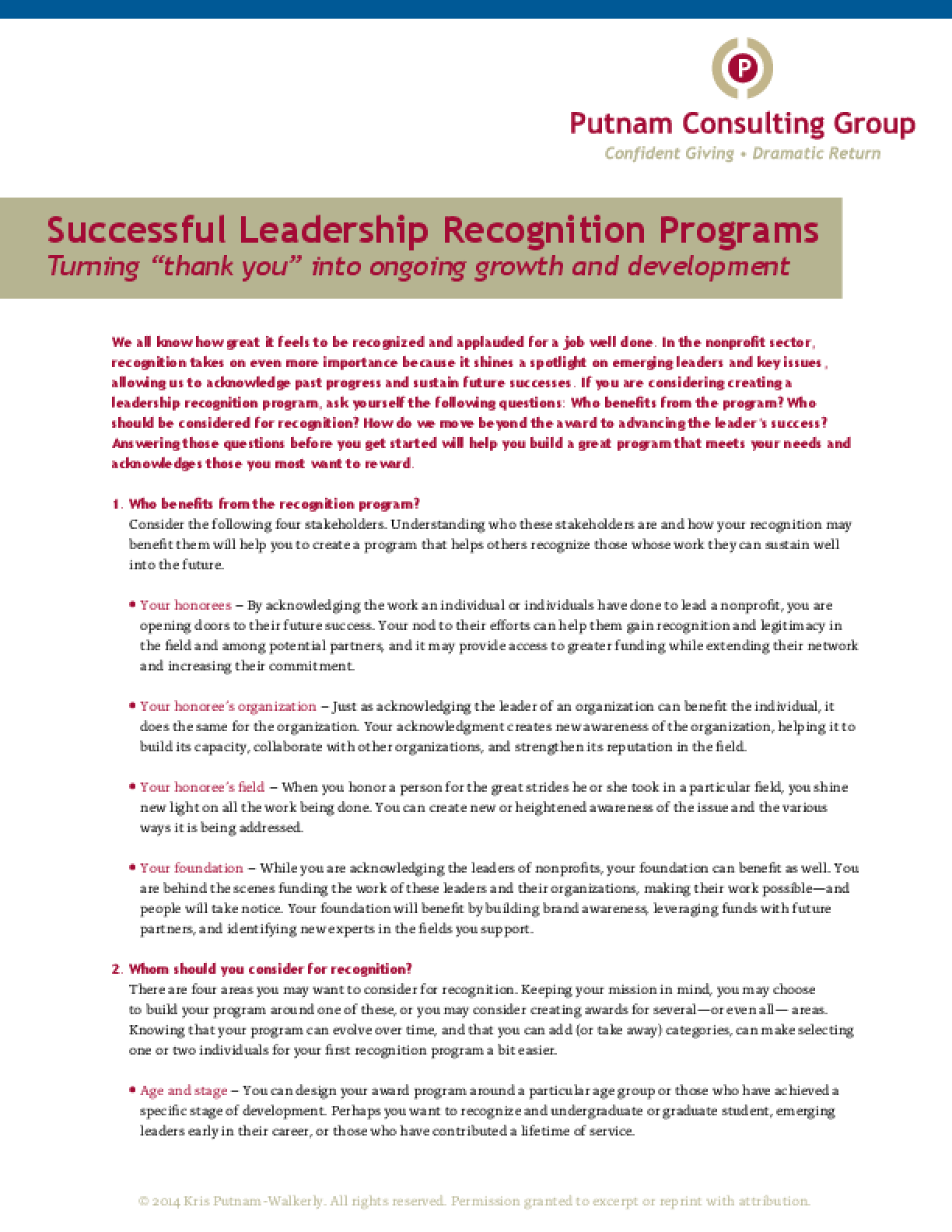 Successful Leadership Recognition Programs