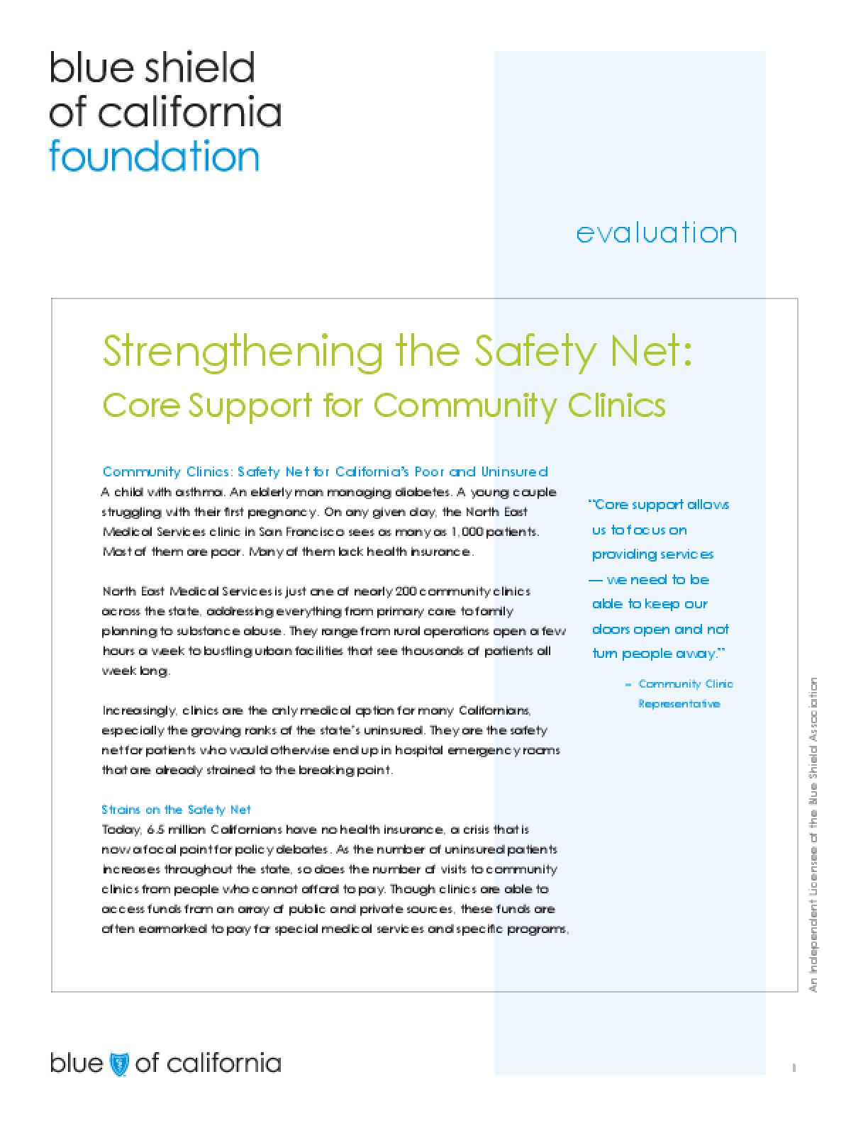 Strengthening the Safety Net: Core Support for Community Clinics