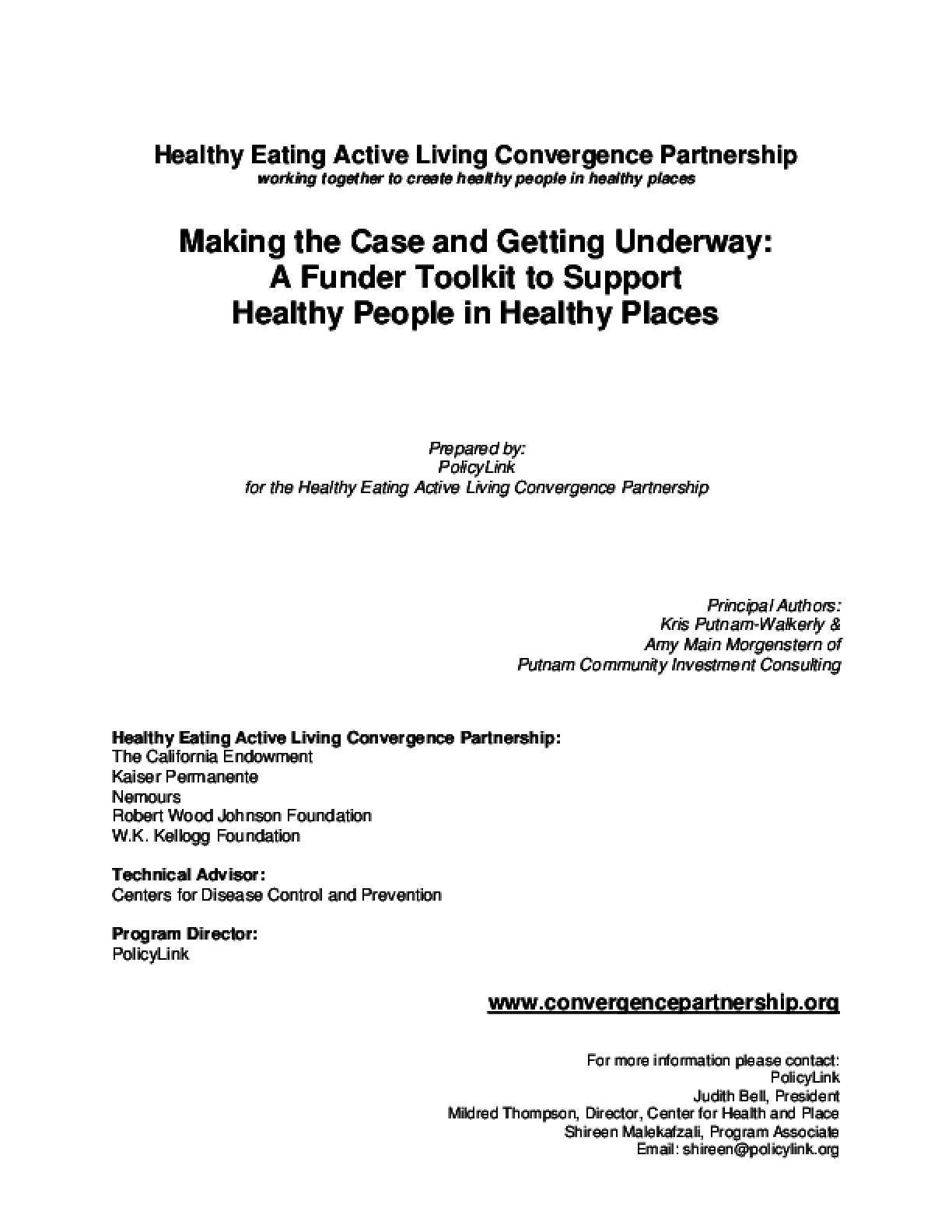 Making the Case and Getting Underway: A Funder Toolkit to Support Healthy People in Healthy Places