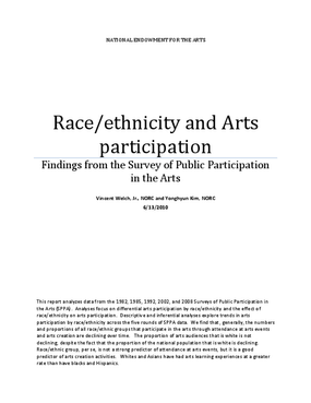 Race/Ethnicity and Arts Participation: Findings from the Survey of Public Participation in the Arts