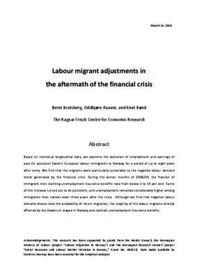 Labour Migrant Adjustments in the Aftermath of the Financial Crisis
