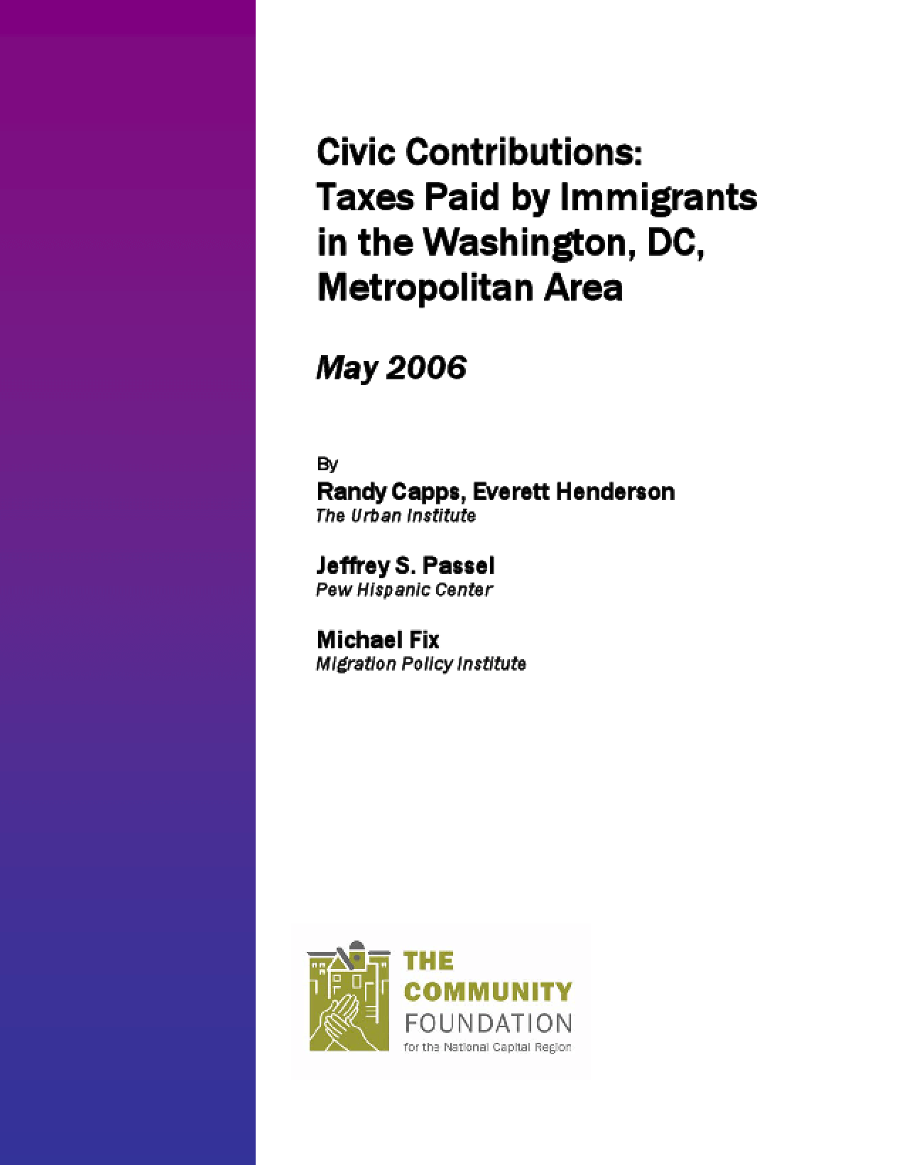 Civic Contributions: Taxes Paid by Immigrants in the Washington, DC, Metropolitan Area