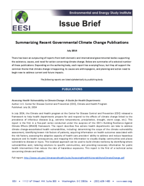 Issue Brief: Summarizing Recent Governmental Climate Change Publications