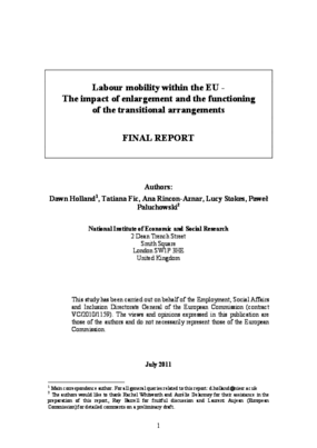 Labour Mobility Within the EU -The Impact of Enlargement and the Functioning of the Transitional Arrangements: Final Report