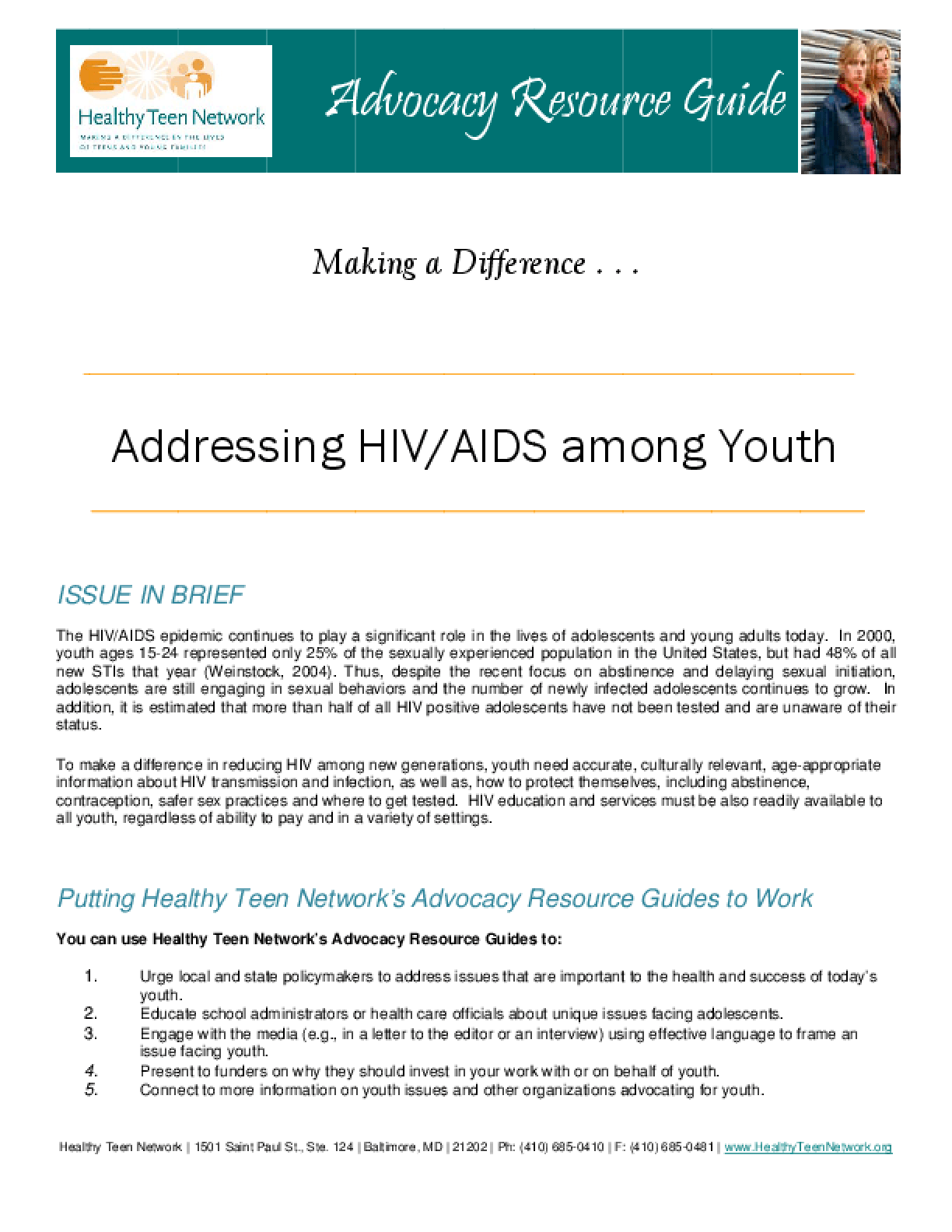 Addressing HIV/AIDS Among Youth
