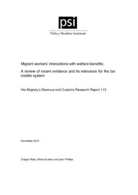 Migrant Workers' Interactions with Welfare Benefits: A Review of Recent Evidence and its Relevance for the Tax Credits System