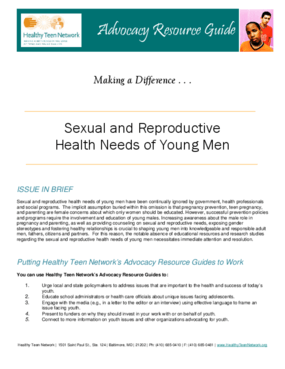 Advocacy Resource Guide: Sexual and Reproductive Health Needs of Young Men