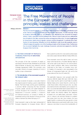 The Free Movement of People in the European Union: Principle, Stakes and Challenges