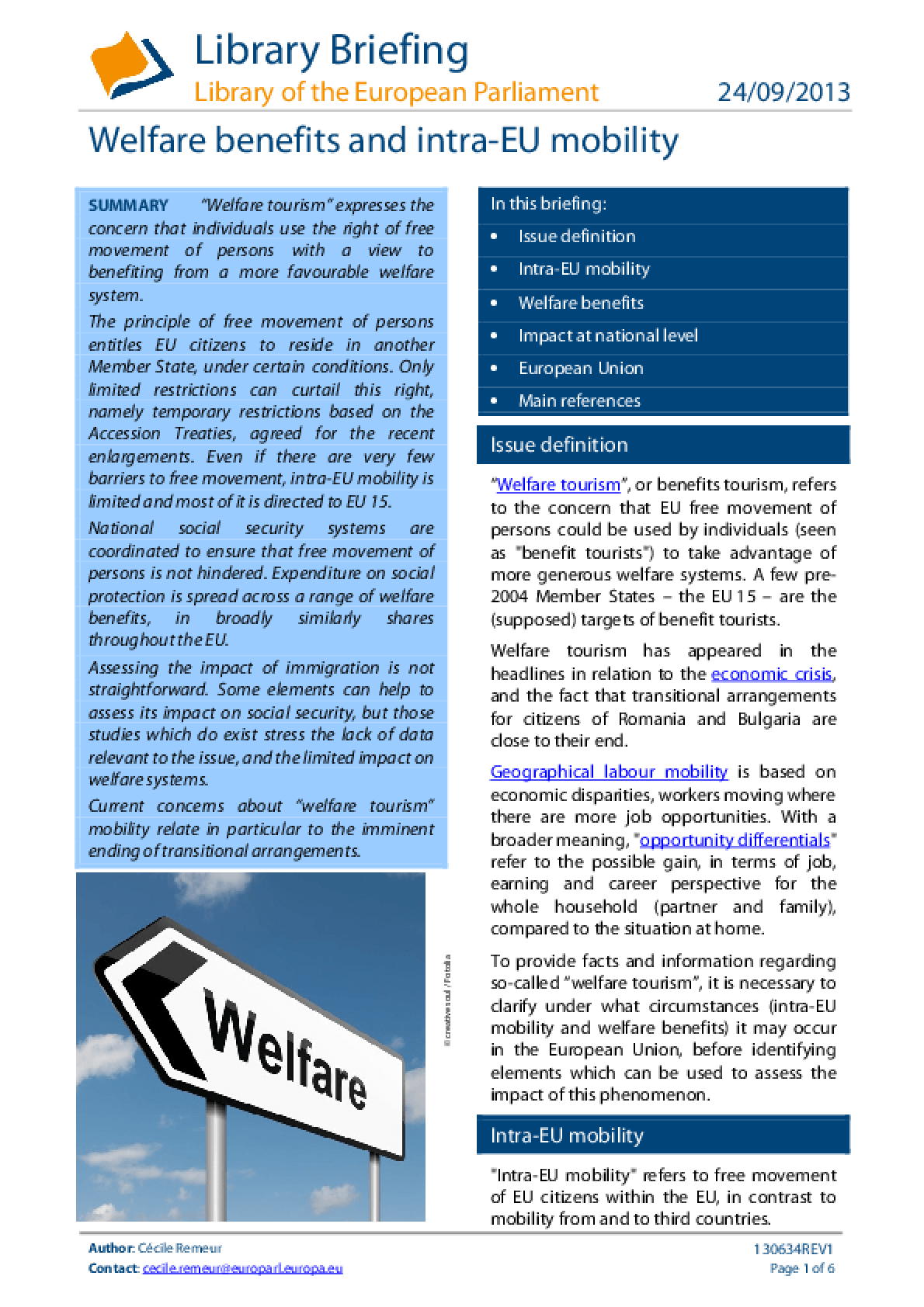Welfare Benefits and Intra-EU Mobility