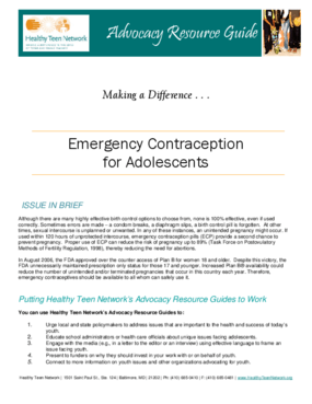 Emergency Contraception for Adolescents