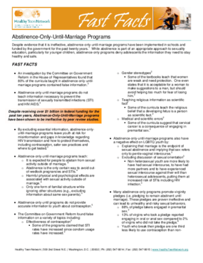 Fast Facts: Abstinence-Only-Until-Marriage Programs