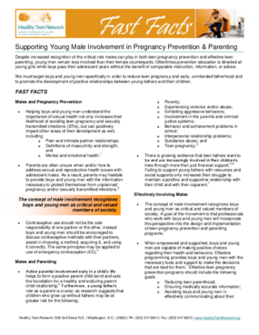 Fast Facts: Supporting Young Male Involvement in Pregnancy Prevention & Parenting
