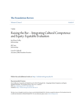Raising the Bar - Integrating Cultural Competence and Equity: Equitable Evaluation