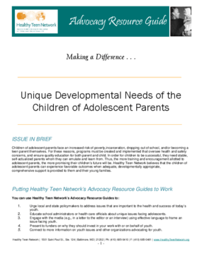 Unique Developmental Needs of the Children of Adolescent Parents