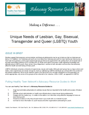 Unique Needs of Lesbian, Gay, Bisexual, Transgender and Queer (LGBTQ) Youth
