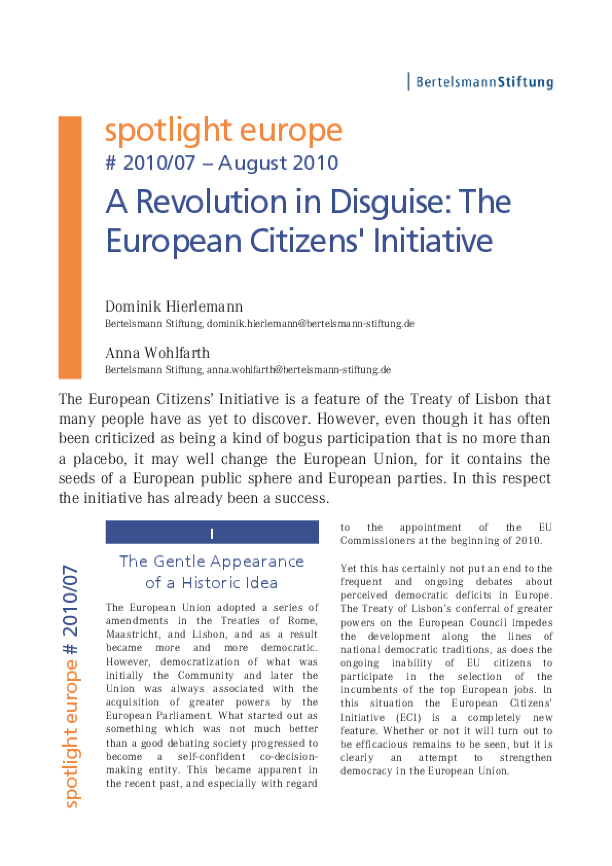 A Revolution in Disguise: The European Citizens' Initiative