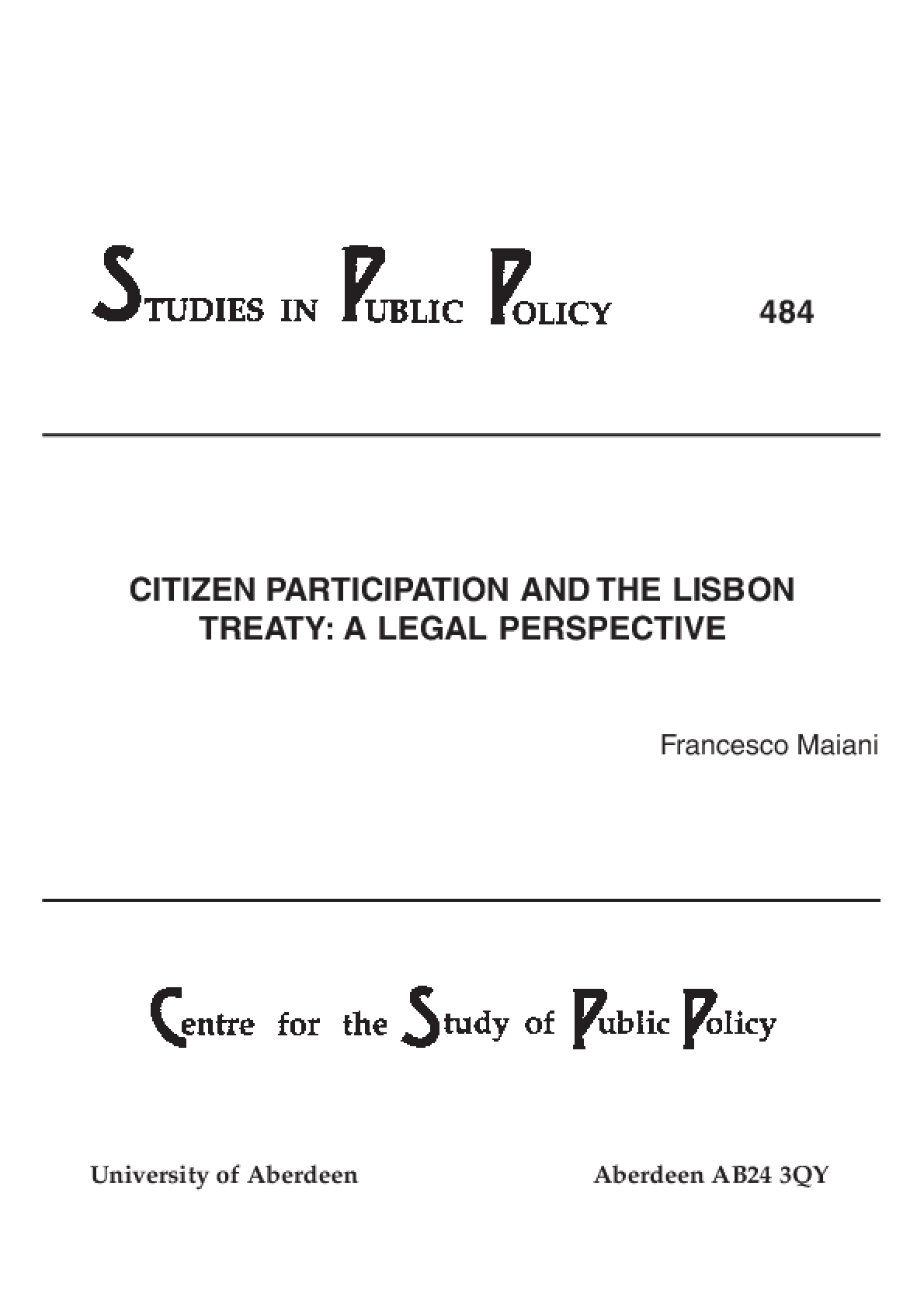 Citizen Participation and the Lisbon Treaty: A Legal Perspective