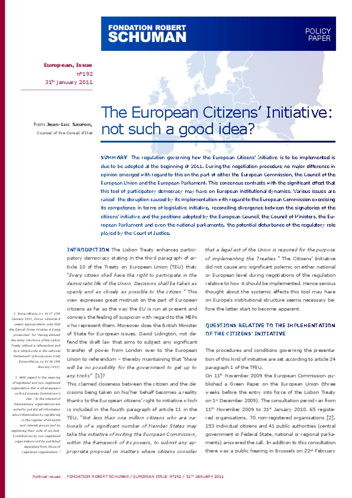 The European Citizens' Initiative: Not Such a Good Idea