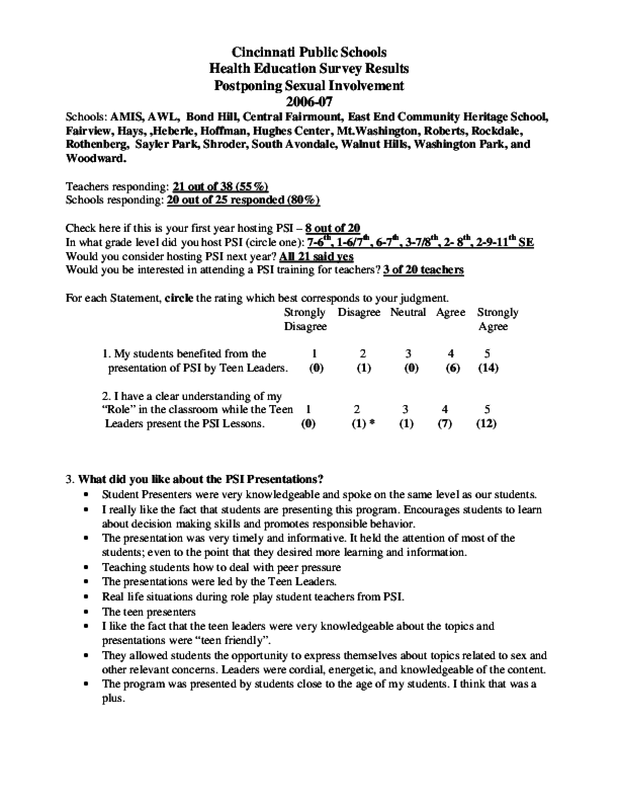 Postponing Sexual Involvement Teacher Survey Results 2006-07