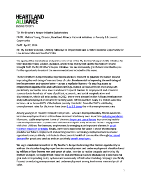 My Brother's Keeper Initiative Stakeholder Memo