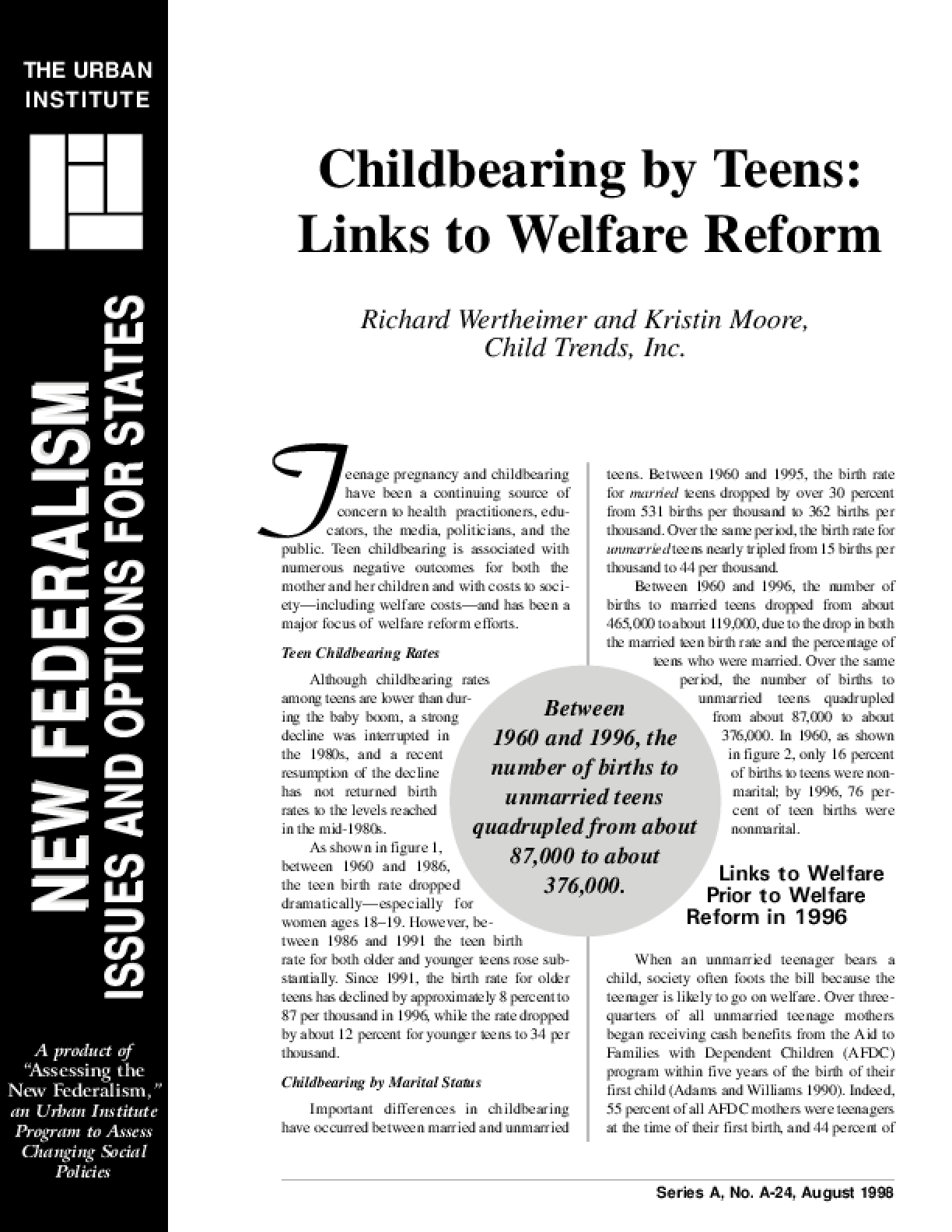Childbearing by Teens: Links to Welfare Reform