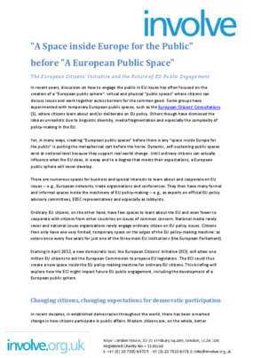 ECI: 'A Space Inside Europe for the Public' Before 'A European Public Space'