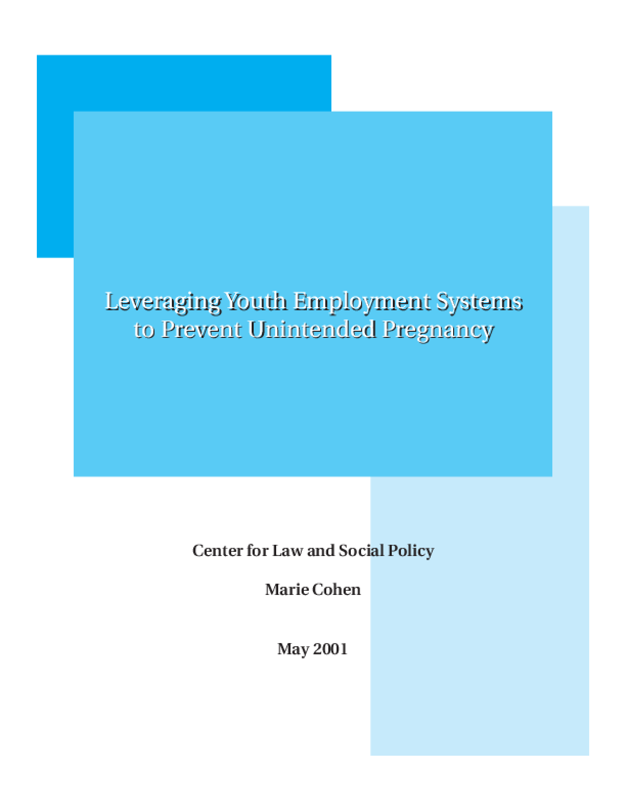 Leveraging Youth Employment Systems to Prevent Unintended Pregnancy