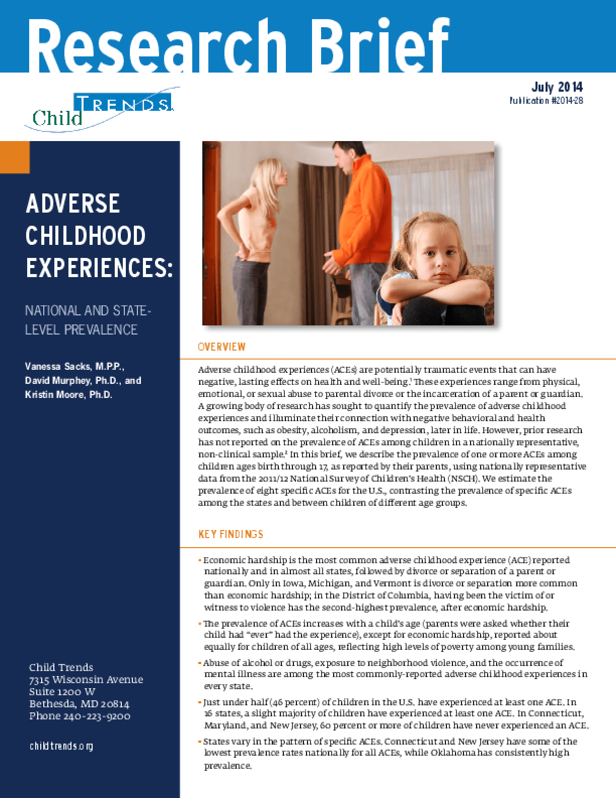 Adverse Childhood Experiences: National and State-Level Prevalence