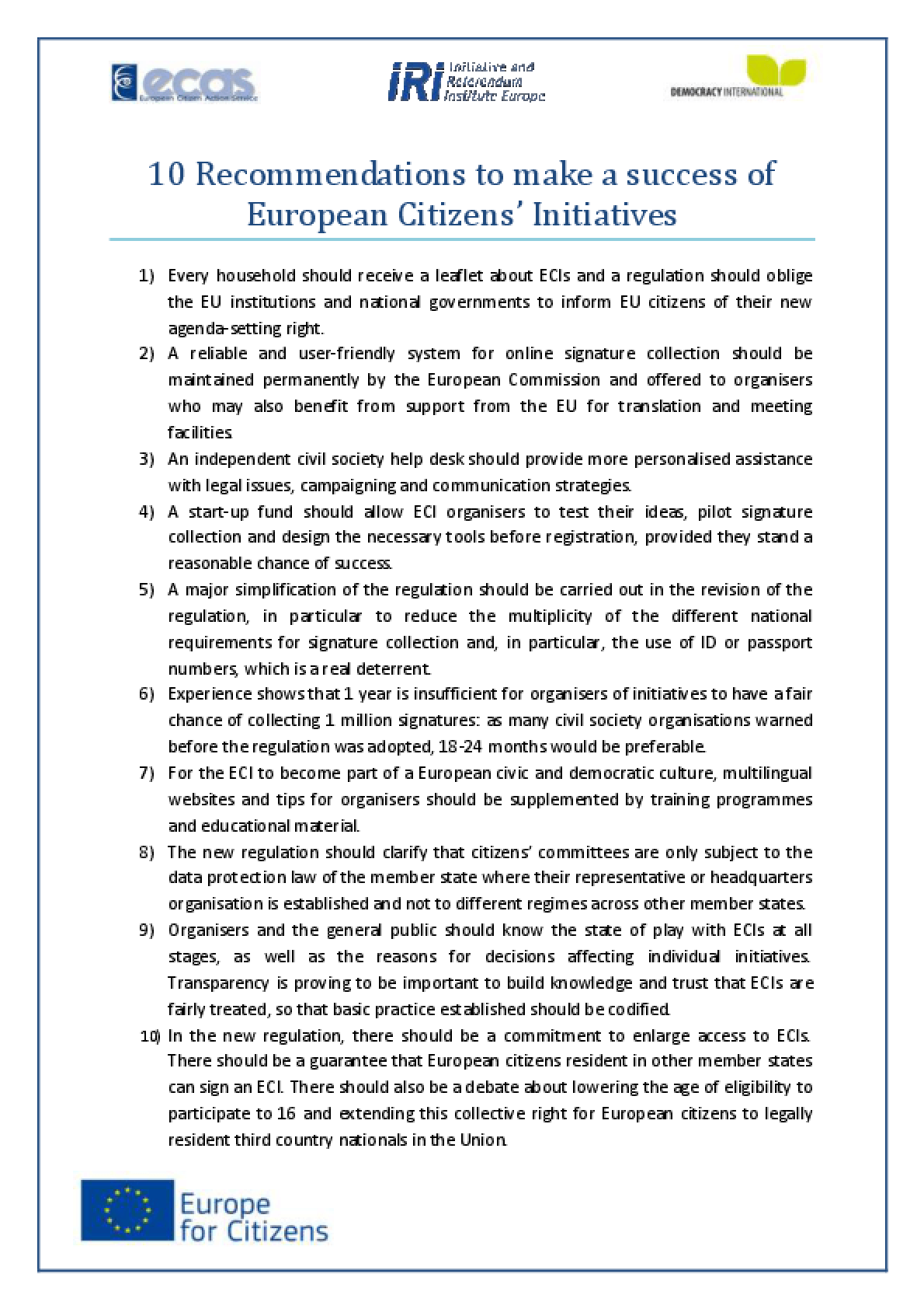 10 Recommendations to Make a Success of European Citizens' Initiatives