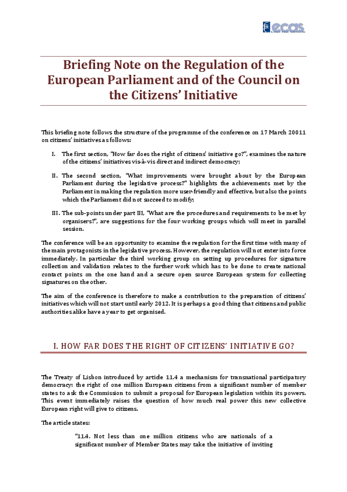 Briefing Note on the Regulation of the European Parliament and of the Council on the Citizens' Initiative