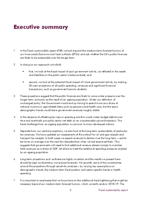 Executive Summary of the July 2014 Fiscal Sustainability Report