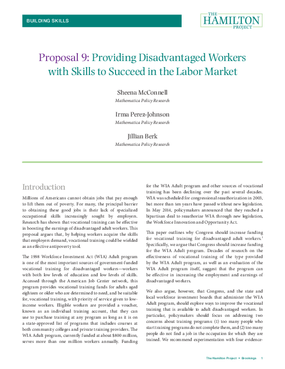 Providing Disadvantaged Workers with Skills to Succeed in the Labor Market