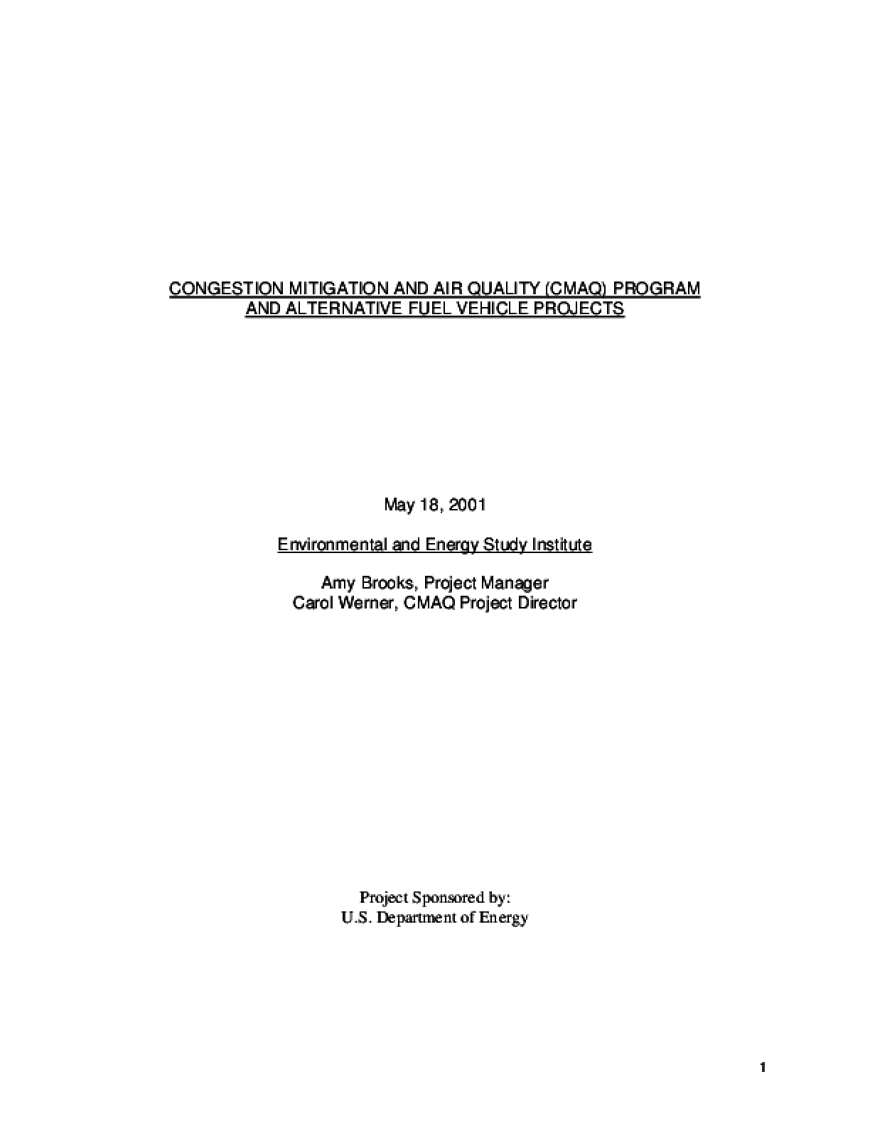 Congestion Mitigation and Air Quality (CMAQ) Program and Alternative Fuel Vehicle Projects