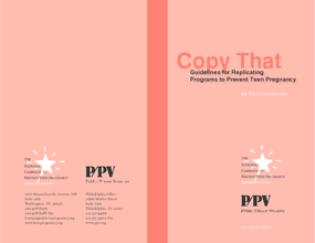 Copy That: Guidelines for Replicating Programs to Prevent Teen Pregnancy