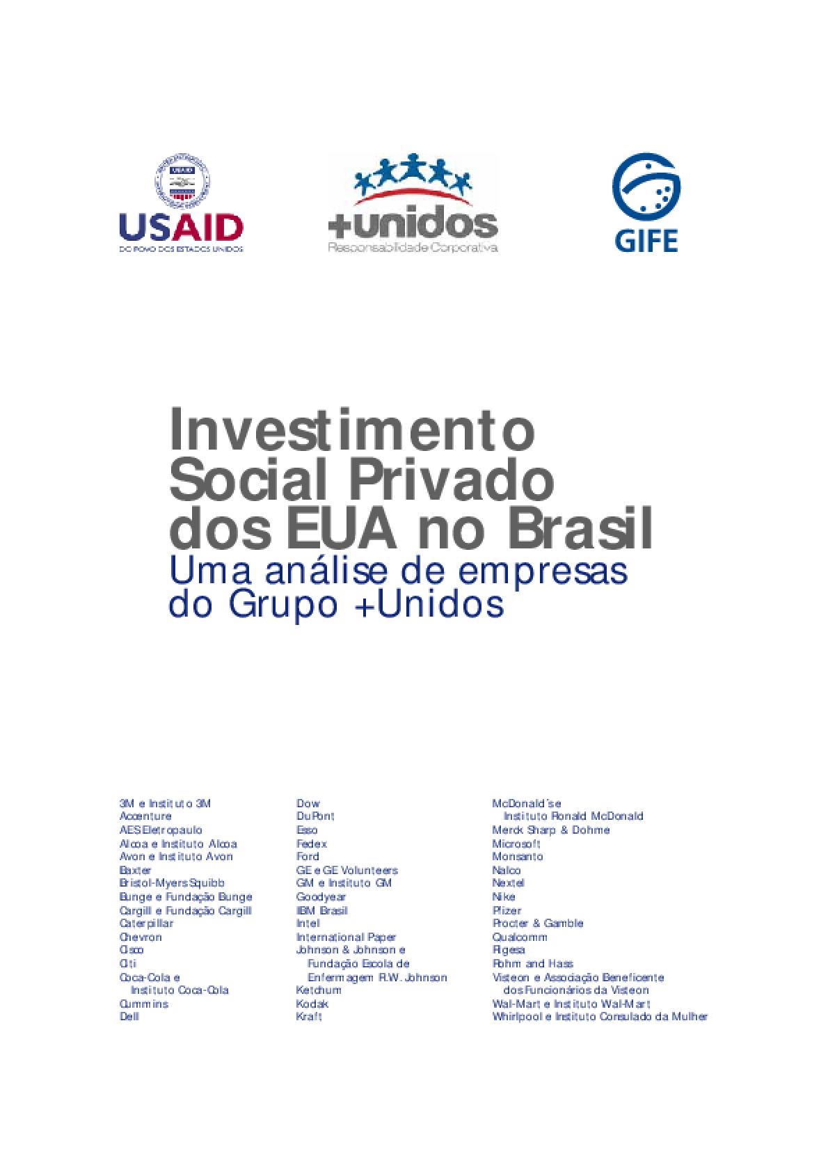 O investimento social privado dos EUA no Brasil: uma análise de empresas do grupo +unidos