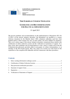 The European Citizens' Initiative - Guidelines and Recommendations for Practical Implementation