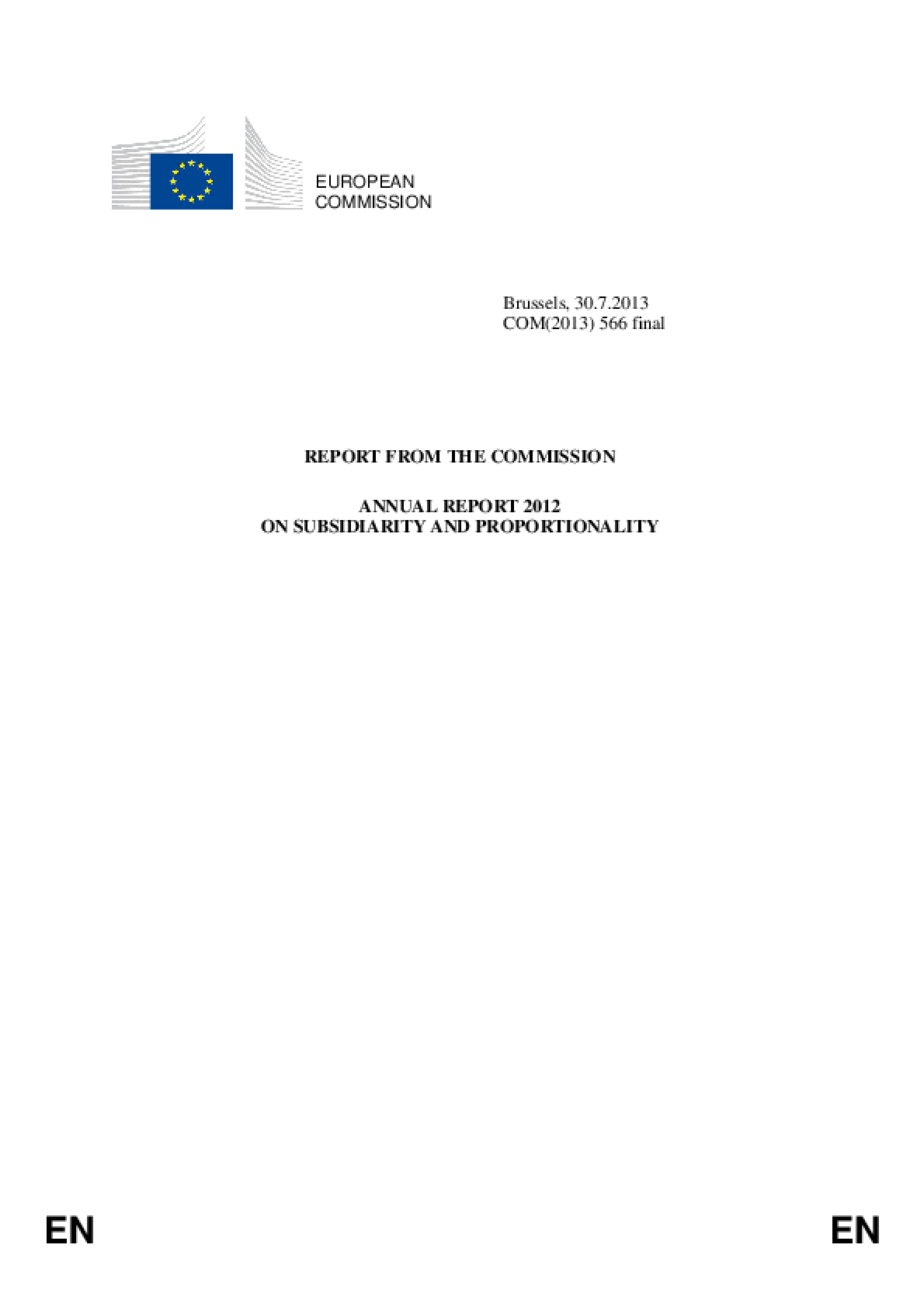 Report from the Commission: Annual Report 2012 on Subsidiarity and Proportionality