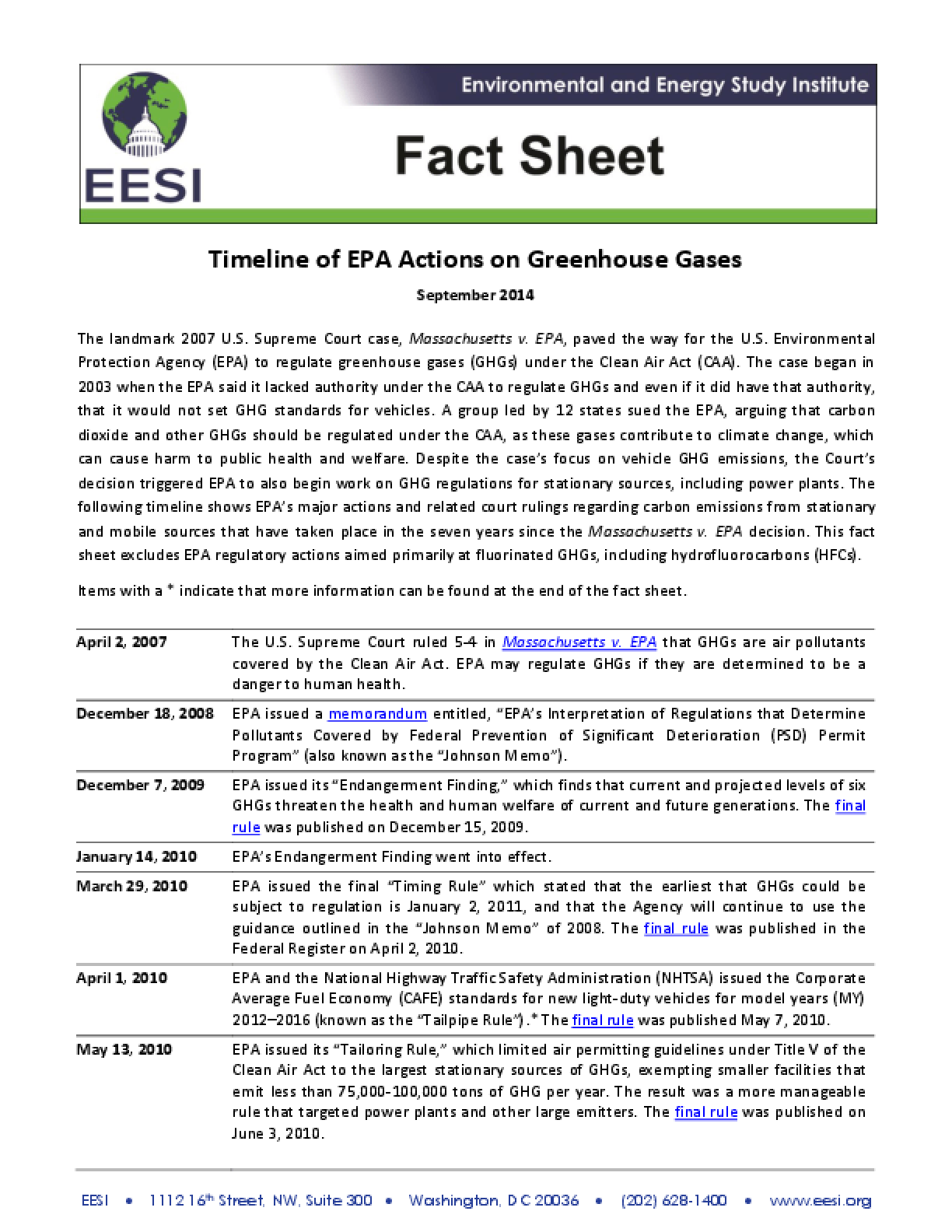 Fact Sheet: Timeline of EPA Actions on Greenhouse Gases