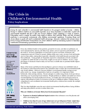 The Crisis in Children's Environmental Health: Policy Implications
