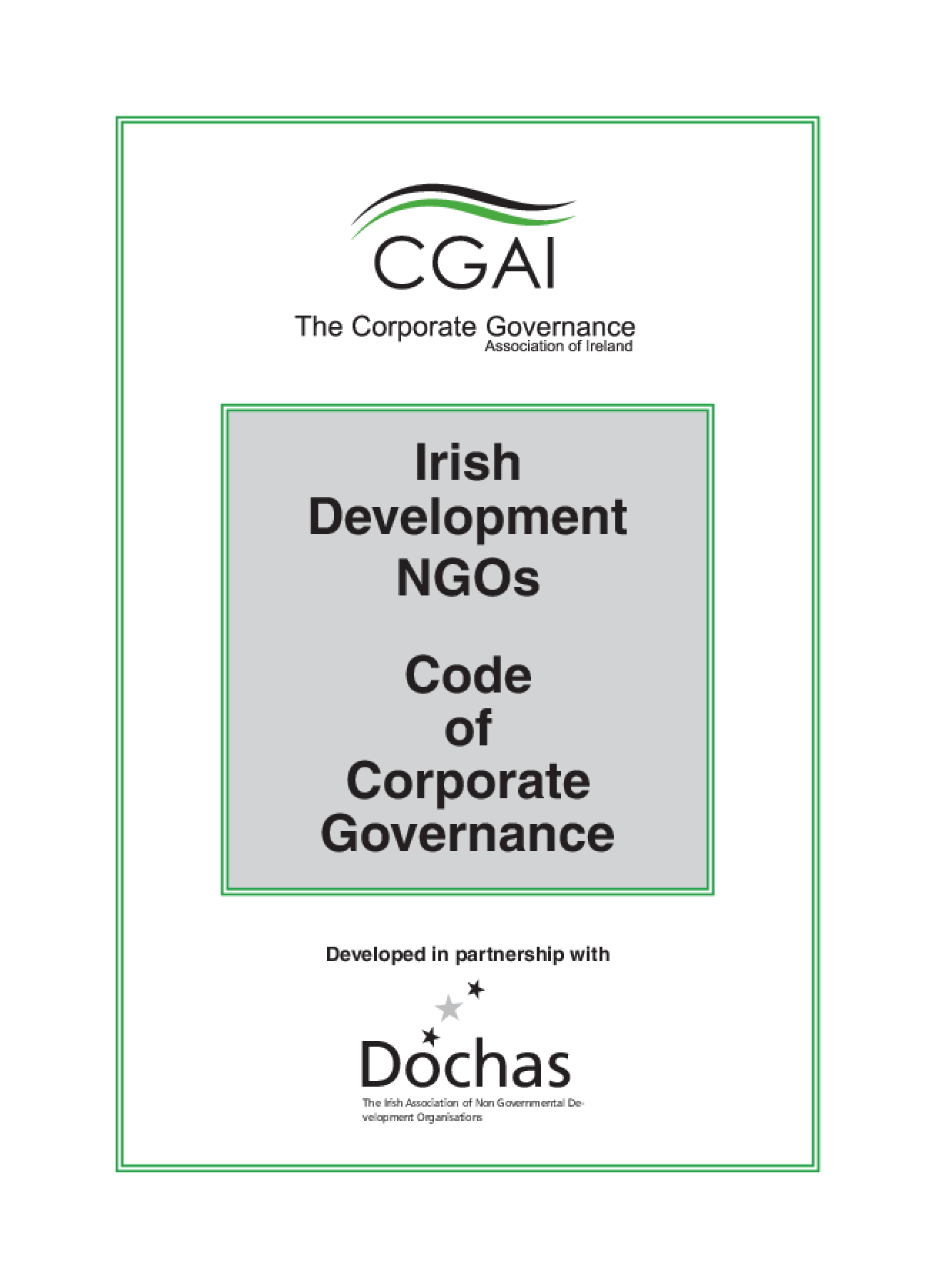 Irish Development NGOs Code of Corporate Governance