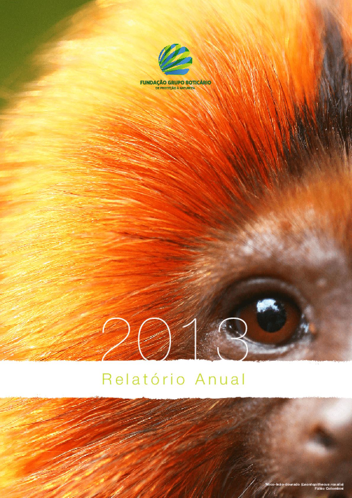 Relatório anual de atividades 2013 - Fundação Grupo Boticário