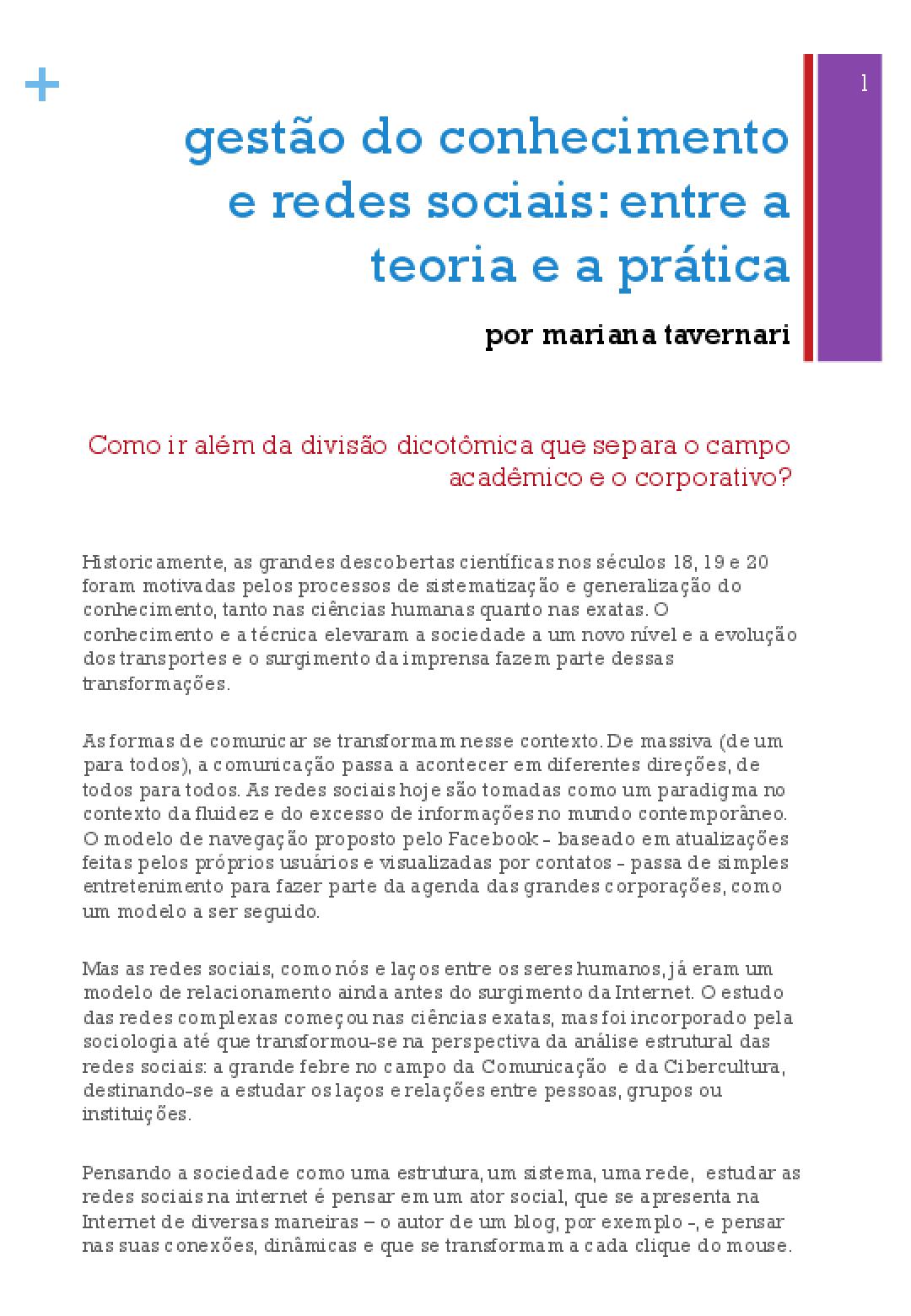 Gestão do conhecimento e redes sociais: entre a teoria e a prática