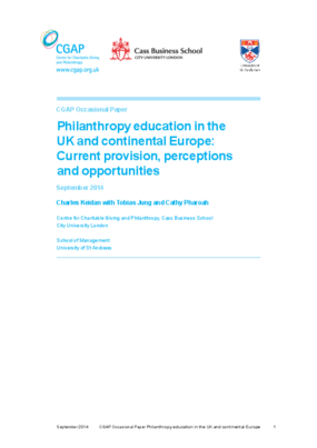Philanthropy Education in the UK and Continental Europe: Current Provision, Perceptions and Opportunities