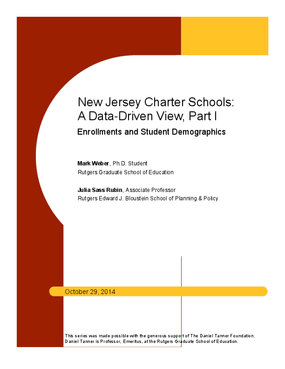 New Jersey Charter Schools: A Data-Driven View, Part I