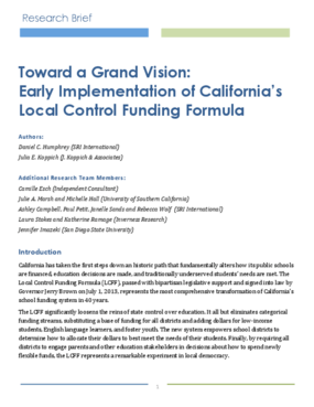 Toward a Grand Vision: Early Implementation of California's Local Control Funding Formula