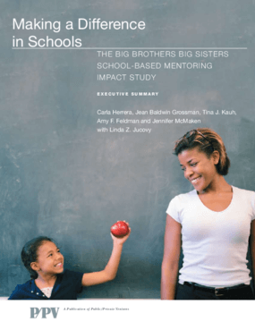 Making a Difference in Schools: The Big Brothers Big Sisters School-Based Mentoring Impact Study Executive Summary