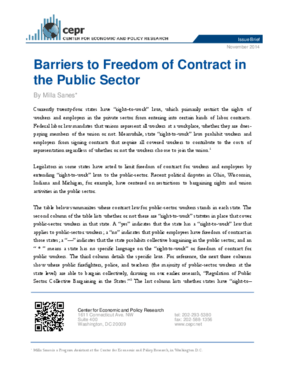 Barriers to Freedom of Contract in the Public Sector