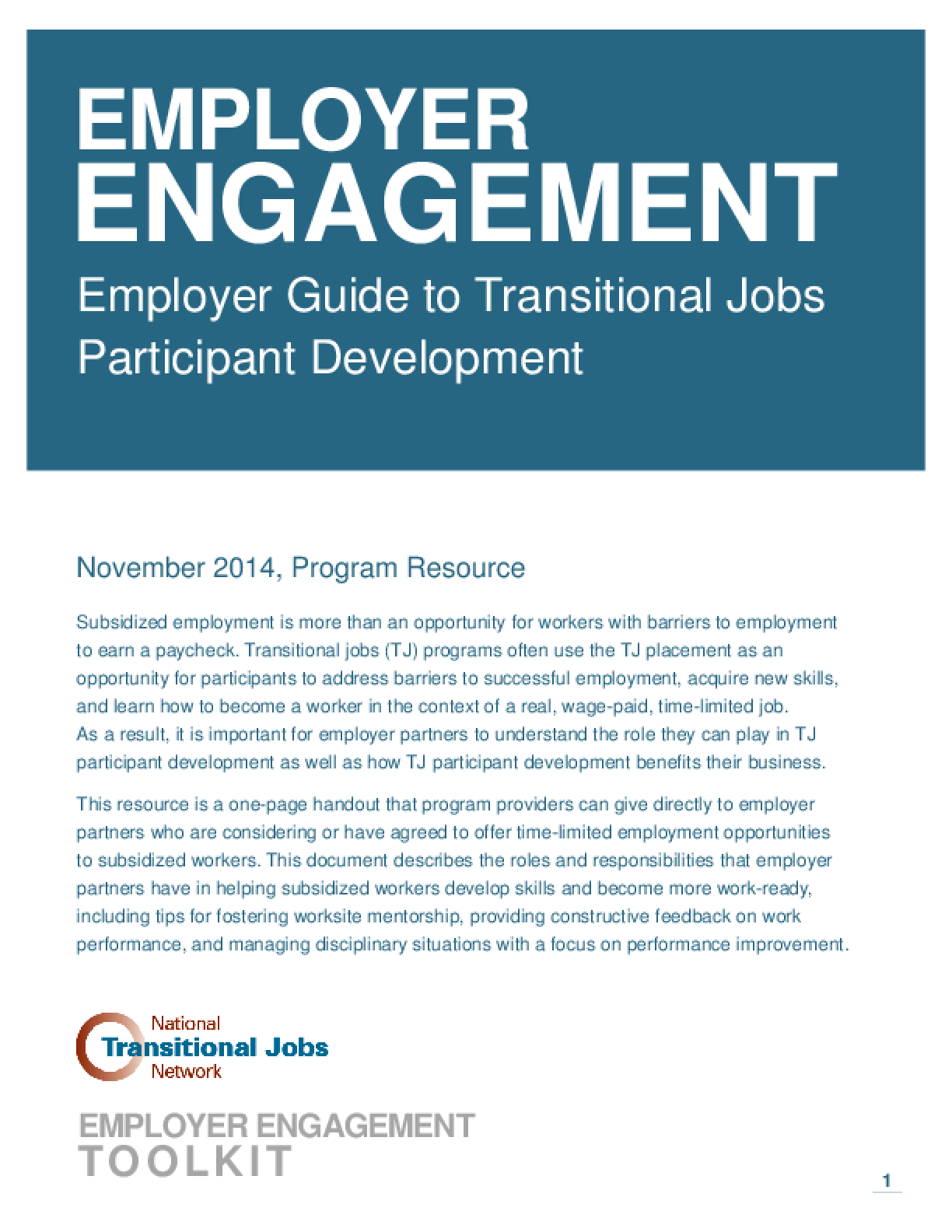 Employer Engagement: Employer Guide to Transitional Jobs Participant Development